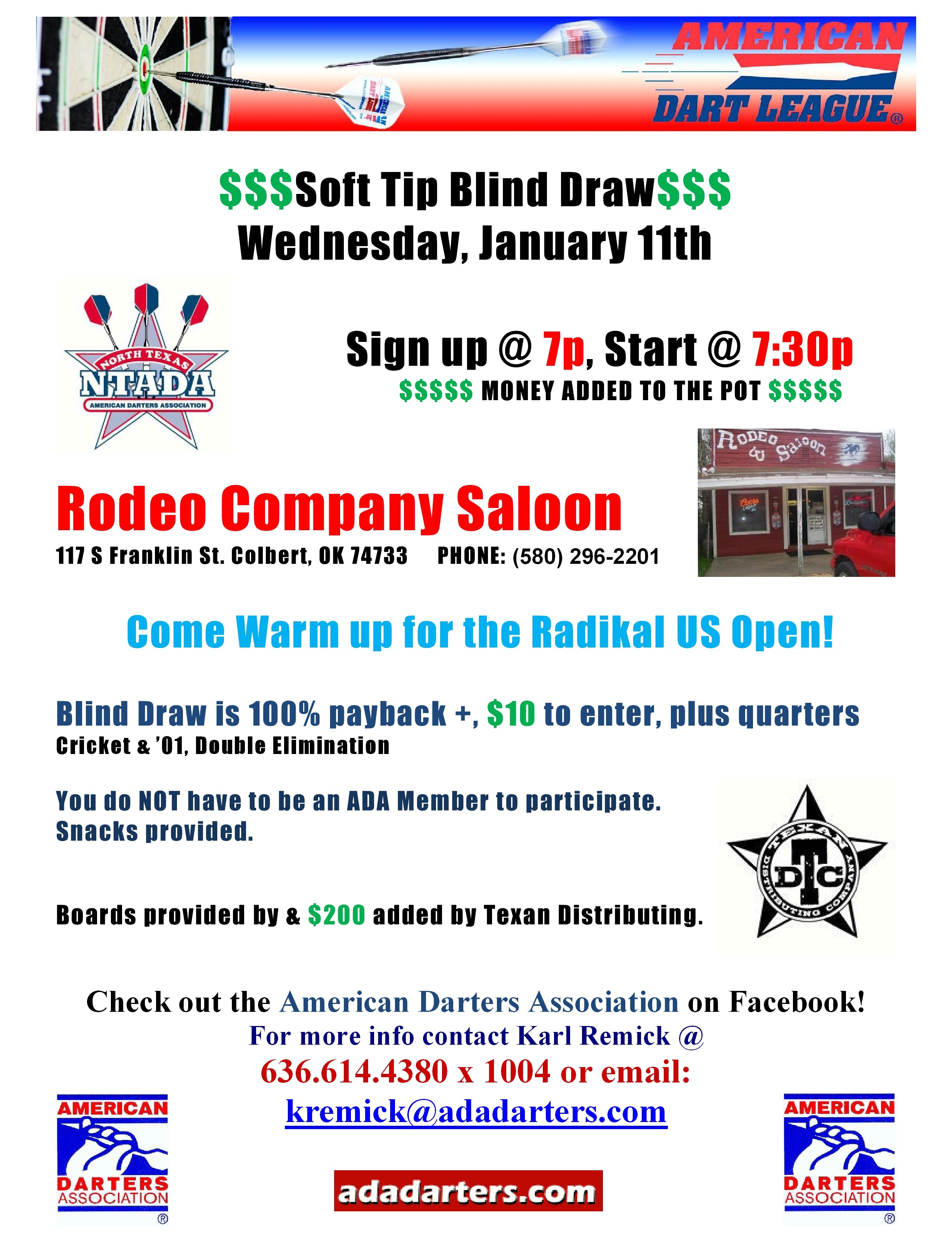 ADL Soft Tip Blind Draw Tourmanent ADA The American Darters