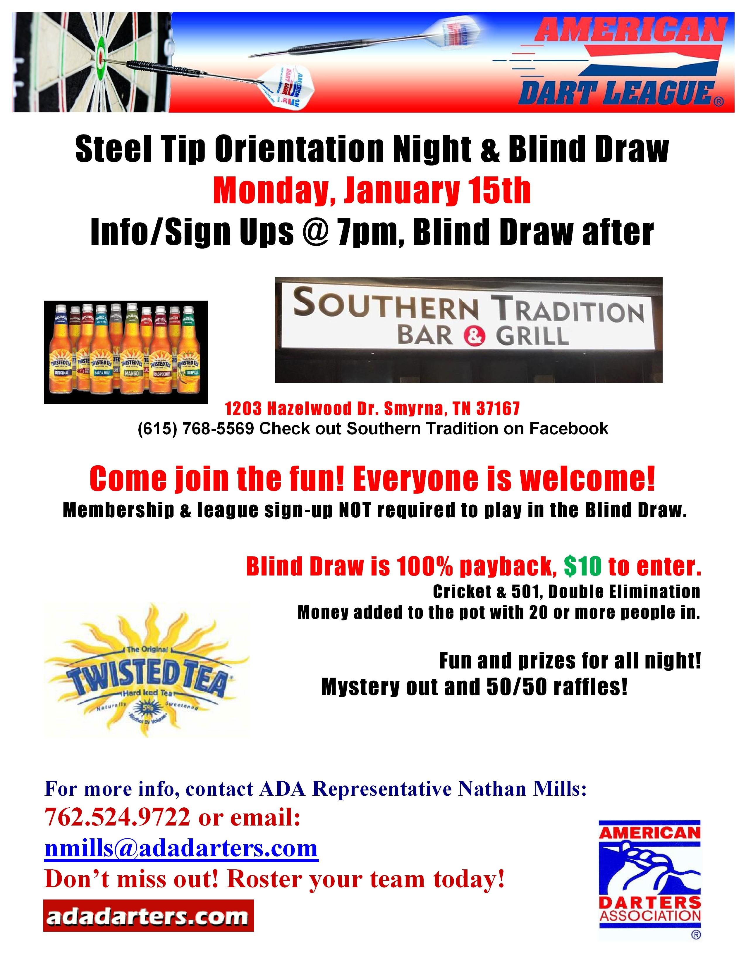 Steel Tip League Orientation & Blind Draw - ADA Area 371